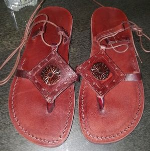 Shoes - Genuine leather handmade lace up sandals